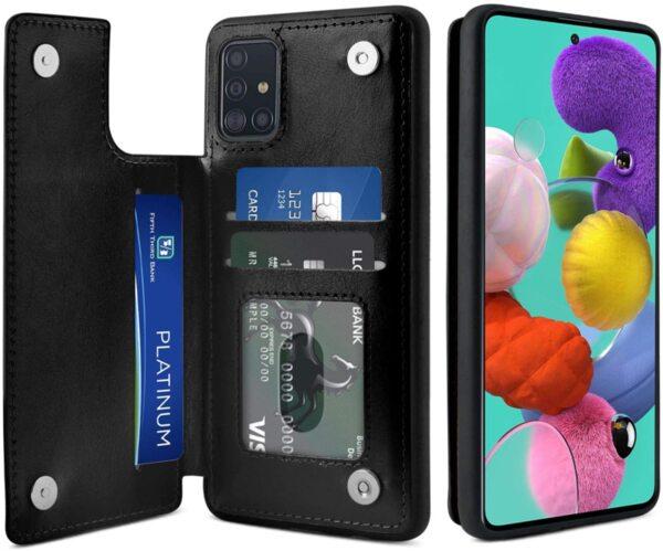 Кожен кейс портфейл със слотове за кредитни карти за Samsung Galaxy S10 Lite