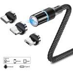 Оплетен магнитен USB кабел 3 в 1 с приставки за MicroUSB, Lightning и Type-C конектори