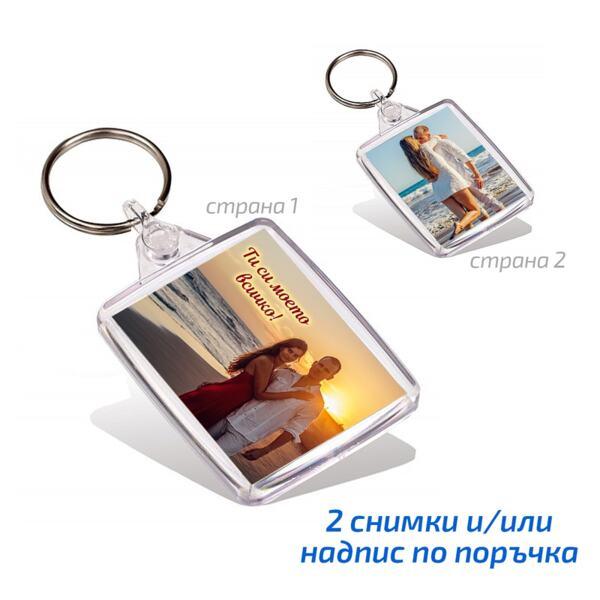 Правоъгълен ключодържател със снимка 4,5х3,5 см