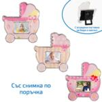 Магнит бебешка количка със снимка за момиче