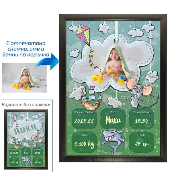 Колаж - визитка за бебе момче - 1