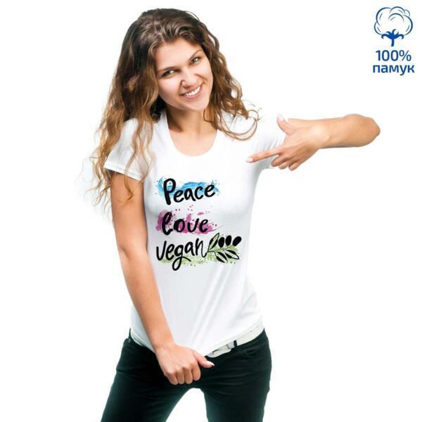 Дамска тениска Peace, Love, Vegan