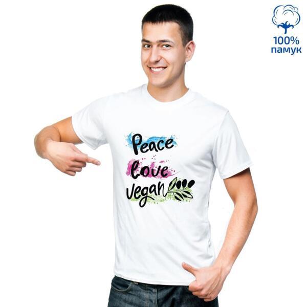 Мъжка тениска Peace, Love, Vegan
