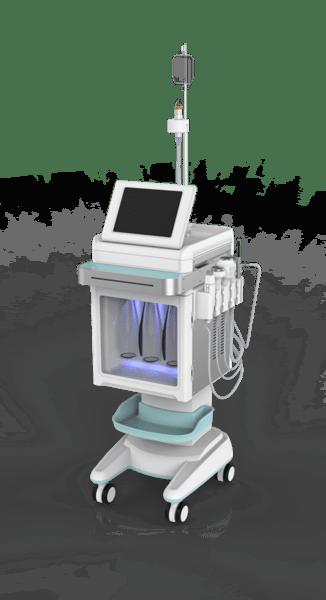 Sistem Aqua Peeling 6-in-1 pentru hidradermabraziune, RF fracţionată, crioterapie, spray  oxigen, peeling  oxigen