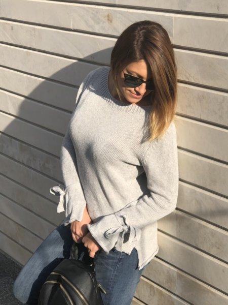 Модерна плетена блуза