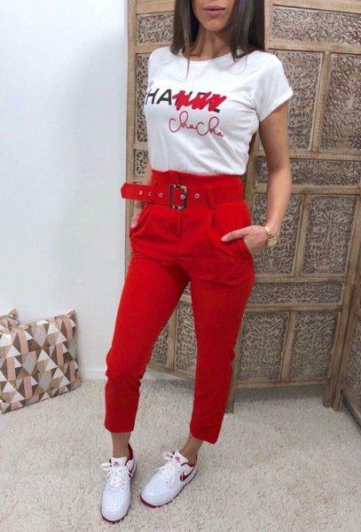 Модерен дамски панталон с висока талия и колан