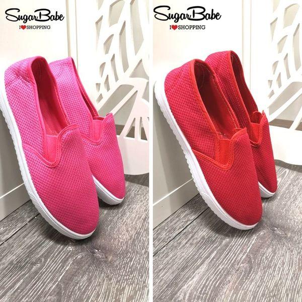 Дамски текстилни обувки в червено и циклама