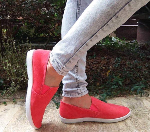 Дамски стилни обувки от велур в цвят корал