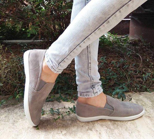 Дамски стилни обувки от велур в сиво