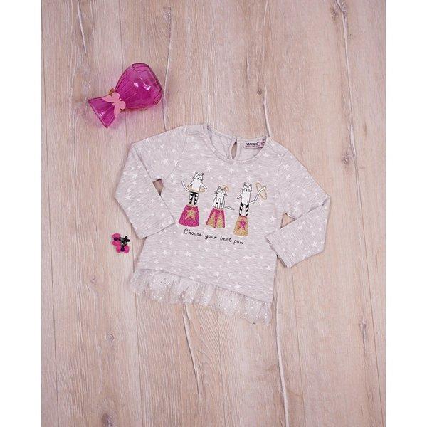 Детска блуза с дантела и щампа за момиченце