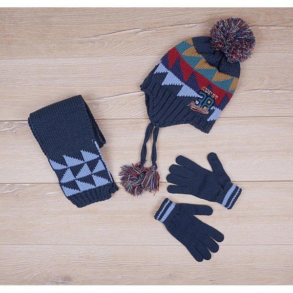 Детски комплект - шал, ръкавици и шапка с помпон