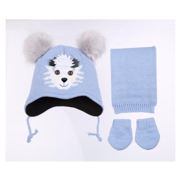 Детски комплект-шал, ръкавици и шапка с апликация и помпони