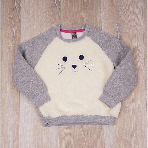 Детска,топла ватирана блузка с апликация ''коте''