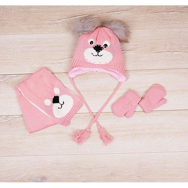 Детски комплект - шал, ръкавици и шапка с ушички