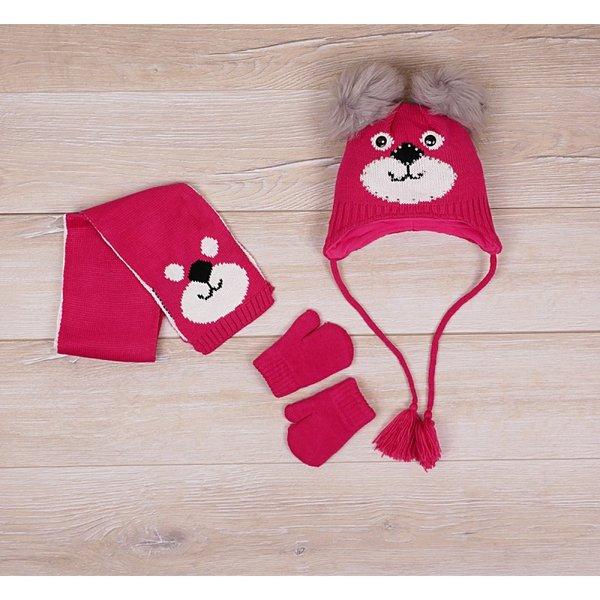 Детски комплект - шал,ръкавици и шапка с ушички