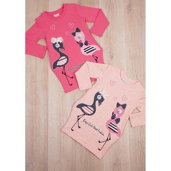Детска туника с апликация ''фламинго'' и  пайети