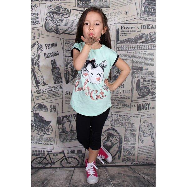 Детски комплект за момиче с клинче и щампа ''коте''