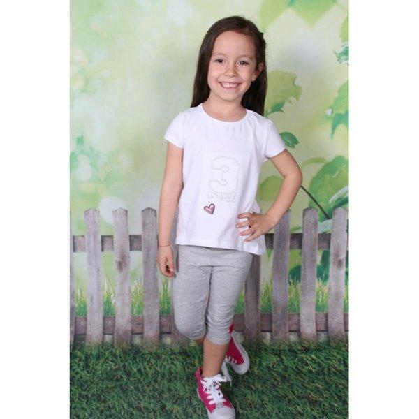 Блузка с къс ръкав и апликация за момиче