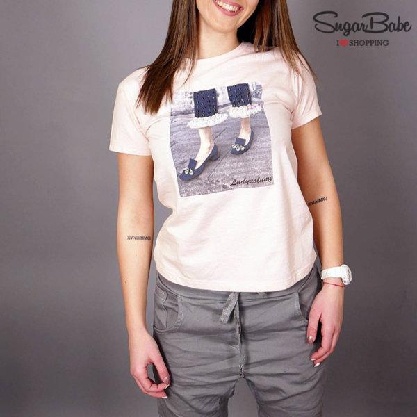Памучна тениска с модерна щампа и пайети