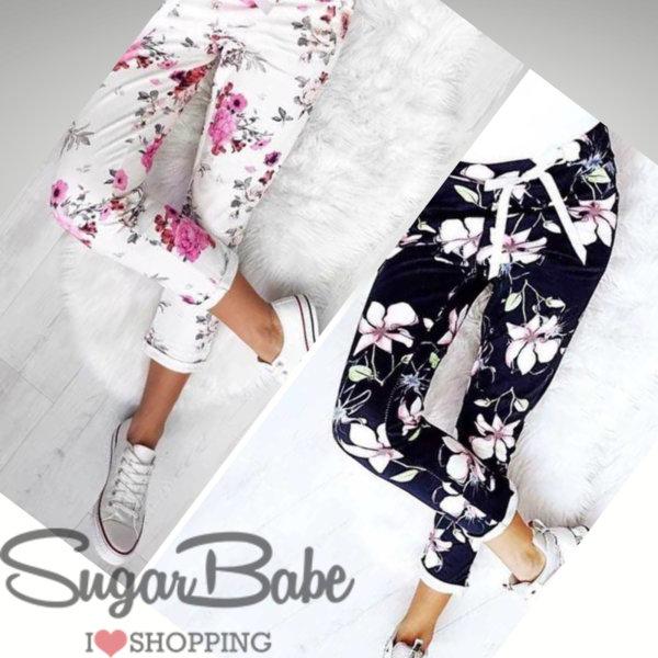 Модерен панталон с цветен принт в черно и бяло