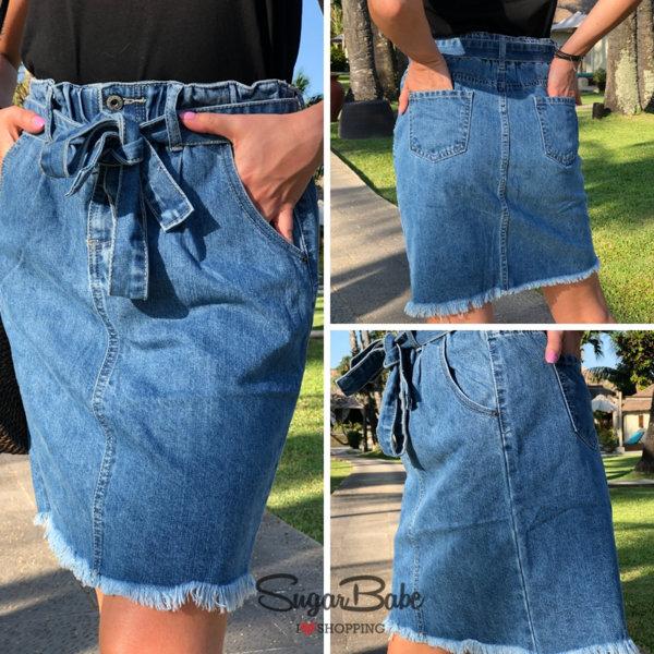 Модерна дънкова пола с колан