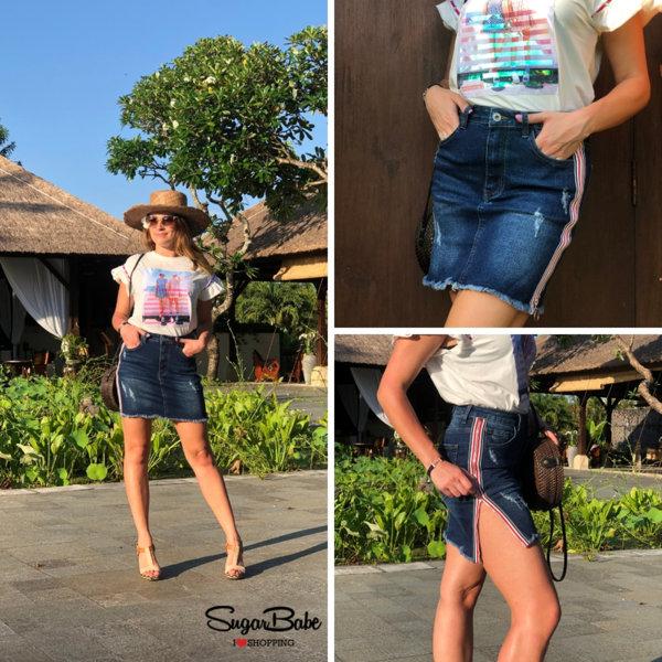 Спортно-елегантна дънкова пола с декоративна лента и цип