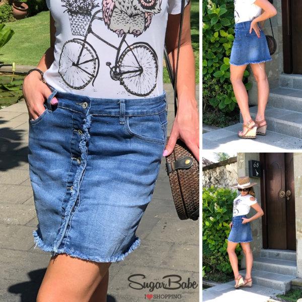 Модерна дънкова пола с копчета