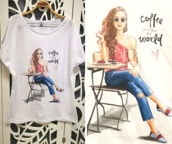 Памучна тениска ''Coffe and World''