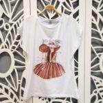 Памучна тениска с рисувана щампа
