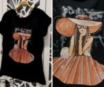 памучна тениска с рисувана щампа ''Lady'' в черно