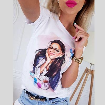 Модерна памучна тениска с апликация ''Усмихната Жена '' в бяло
