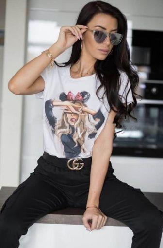 Дамска памучна тениска с щампа тип рисунка ''Like Minnie''