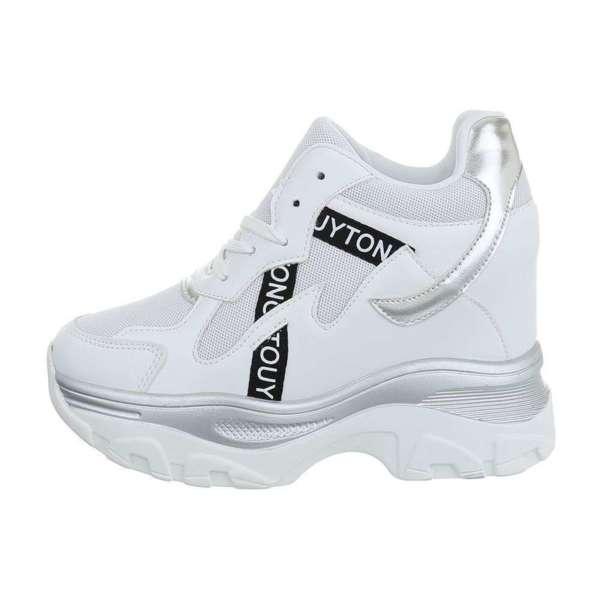 Дамски модерни обувки на платформа в бяло- SW