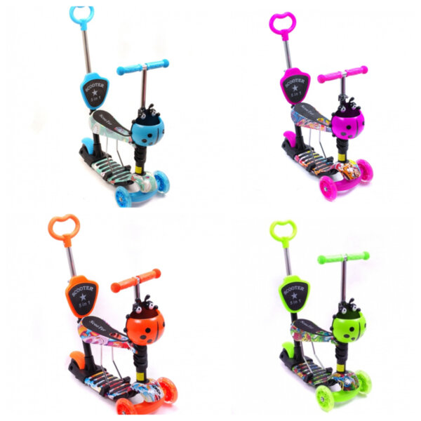 Детска тротинетка Scooter 5 в 1 със седелка, графити, родителски контрол и светещи колела