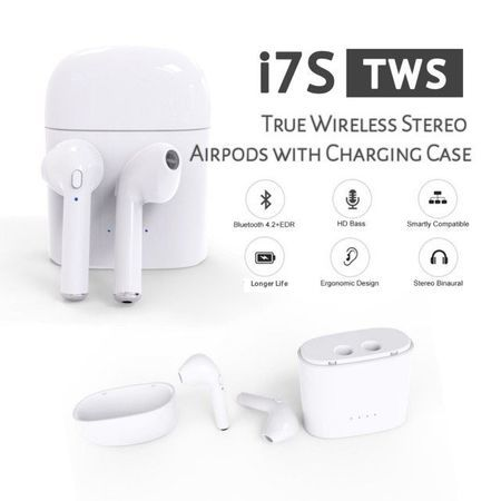 Безжични i7S TWS AirPods Bluetooth слушалки + Dockstation зарядно