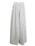 Широк панталон от памук с висока талия на точки
