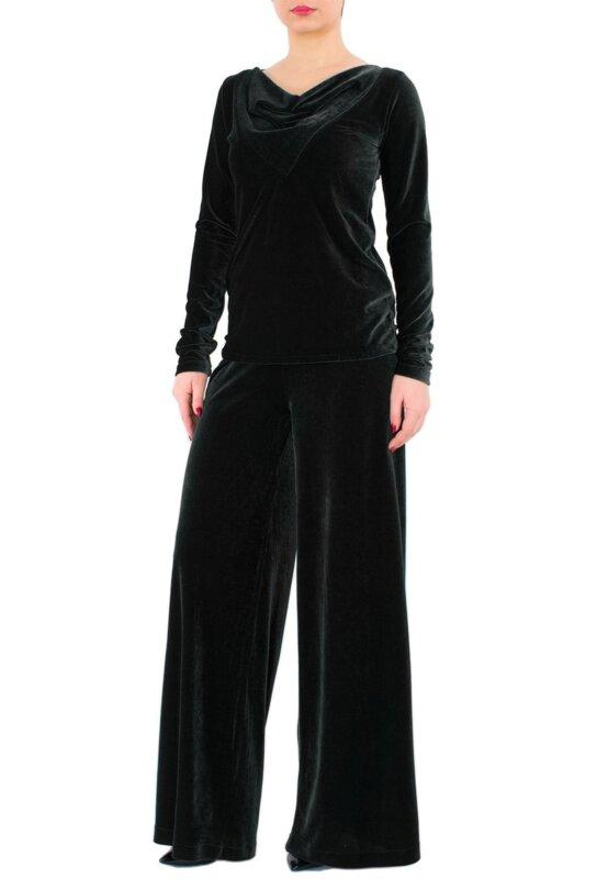 Широк дамски панталон, черно кадифе, черен плюш