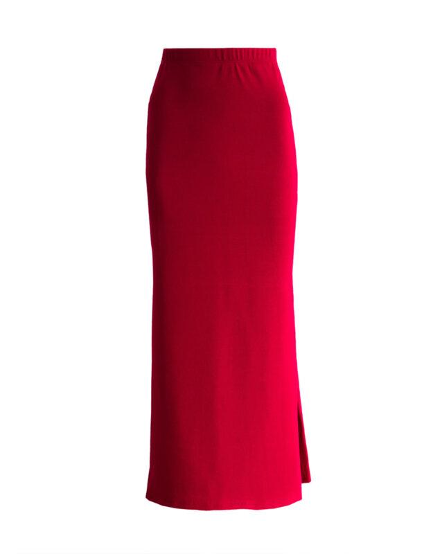 Дълга червена пола с цепка