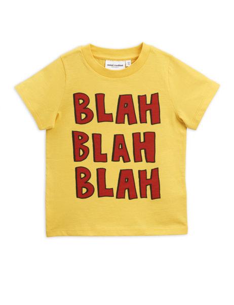 "Mini Rodini Жълта тениска с къс ръкав ""Blah"""