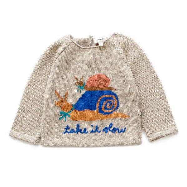"""Oeuf NYC Пуловер с ръкави тип реглан """"Take it slow"""""""