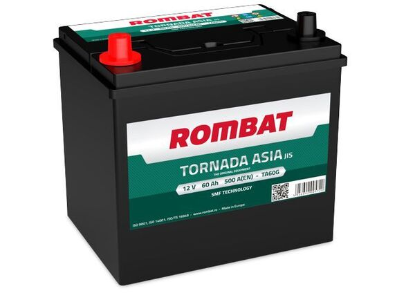 ROMBAT 60AH 500A TORNADA ASIA L+