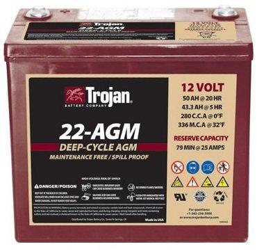 TROJAN 50AH DEEP-CYCLE BATTERIES AGM L+