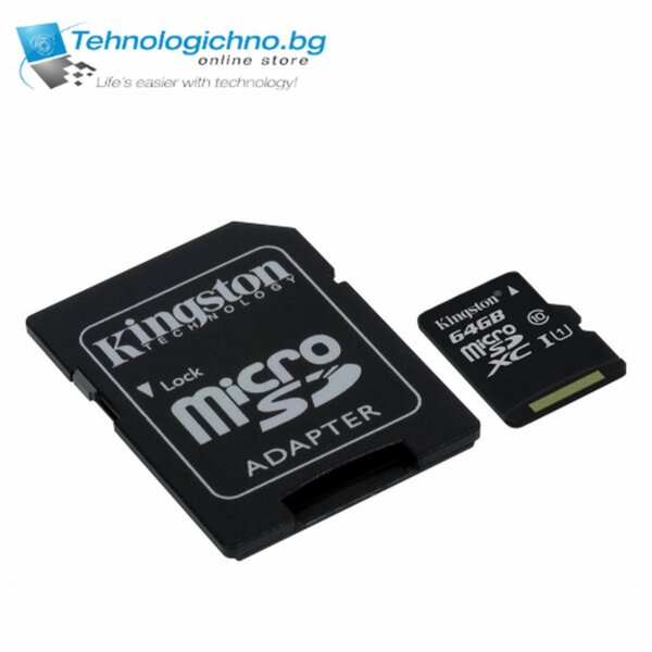 Kingston 64 GB microSD XC CL10  + SD Adapter