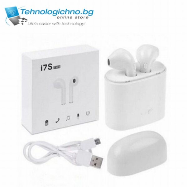 Bluetooth слушалки Iphone + charger i7s TWS