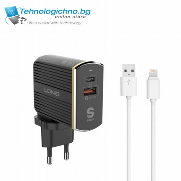 Зарядно LDNIO A2502C PD USB-C+QC3.0