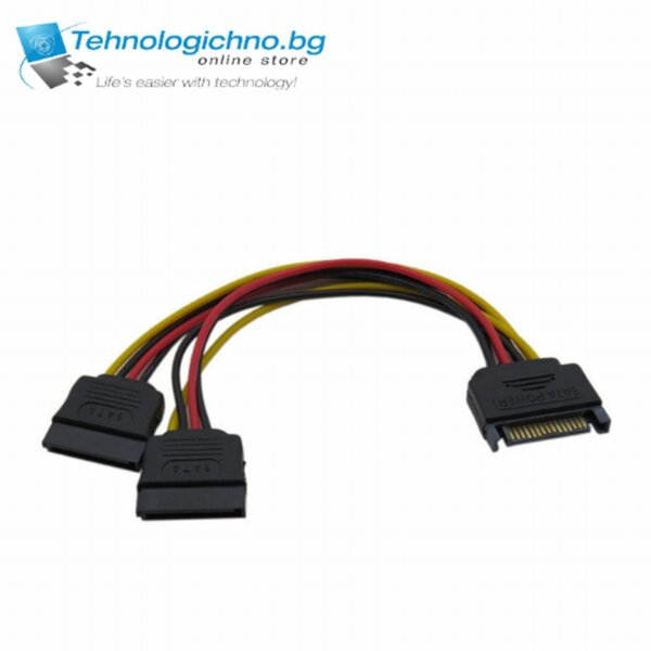 SATA Power 15 pin Male to 2xFemale SATA Power