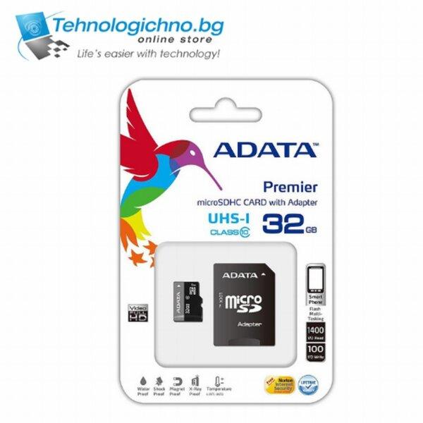 32GB microSD UHS-I + Adapter + ADATA