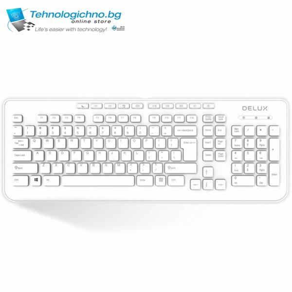 Клавиатура Delux DLK-OM02U White