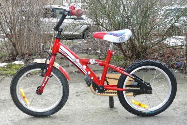 "Детско колело 16"" Little Ninjas, стоманена рамка, контра, червено"