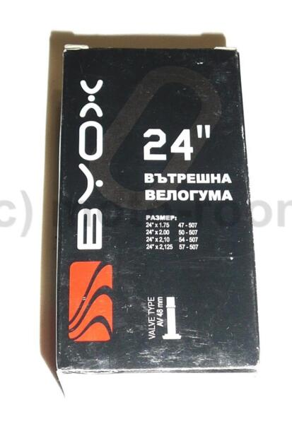 "Вътрешна гума Byox 24""х1,75/2,125, бутил, AV 48 mm"